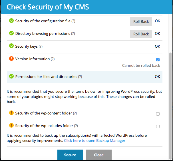 Fitur Check Security pada WordPress Toolkit Plesk panel image 3